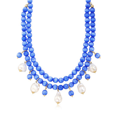 Italian 15-16mm Cultured Baroque Pearl and Blue Glass Bead Necklace in 18kt Gold Over Sterling, , default