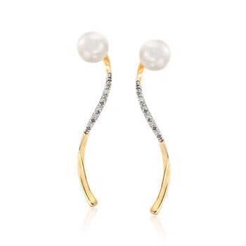 7-7.5mm Cultured Pearl and .10 ct. t.w. Diamond Twisted Drop Earrings in 14kt Yellow Gold, , default
