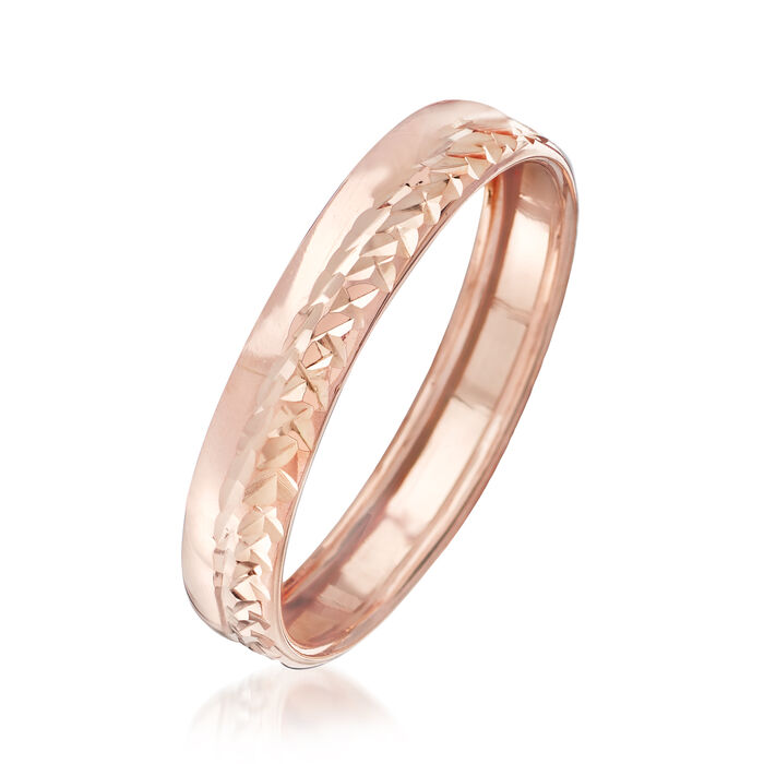 Italian 14kt Rose Gold Diamond-Cut Ring