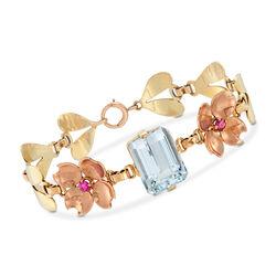 C. 1960 Vintage 12.75 Carat Aquamarine and .40 ct. t.w. Ruby Flower Bracelet in 14kt Two-Tone Gold  , , default