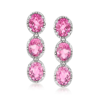 13.40 ct. t.w. Pink Topaz and .12 ct. t.w. Diamond Halo Three-Stone Drop Earrings in Sterling Silver
