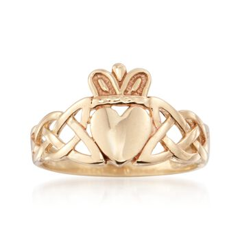 14kt Yellow Gold Braided Claddagh Ring, , default