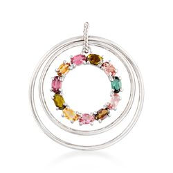 2.60 ct. t.w. Multicolored Tourmaline Circle Pendant in Sterling Silver , , default