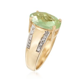 5.00 Carat Green Prasiolite and .10 ct. t.w. White Topaz Ring in 14kt Gold Over Sterling, , default