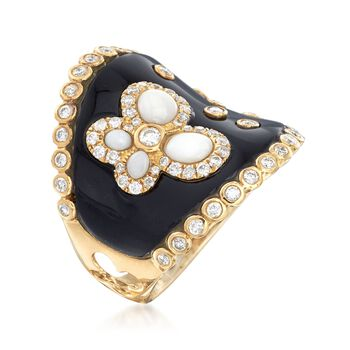 Black Onyx and White Agate Ring with Black Enamel and .70 ct. t.w. Diamonds in 18kt Yellow Gold
