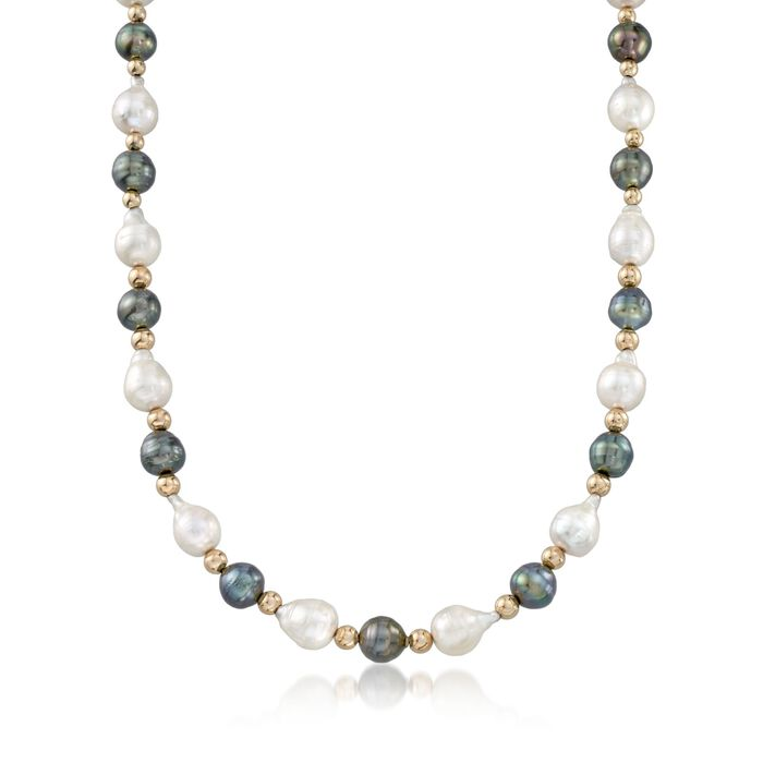 8-10mm Tahitian and Baroque Pearl Necklace with 14kt Yellow Gold, , default