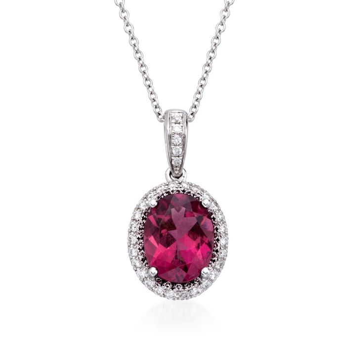 "Simon G. 1.84 Carat Rubellite and .34 ct. t.w. Diamond Pendant Necklace in 18kt White Gold. 17"", , default"