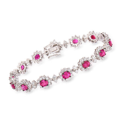5.75 ct. t.w. Ruby and 4.65 ct. t.w. Diamond Flower Bracelet in 18kt White Gold, , default