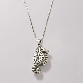 Sterling Silver Seahorse Pendant, , default