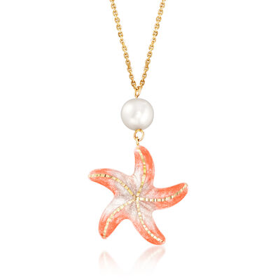 Italian 8mm Cultured Pearl Starfish Necklace in 14kt Yellow Gold, , default