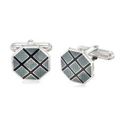 Black and Gray Argyle Motif Cuff Links in Sterling Silver, , default