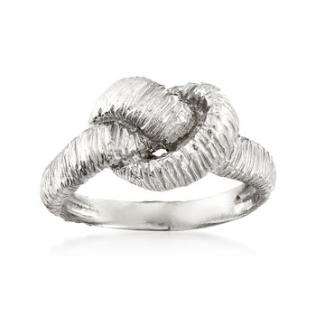 Italian Tri-Colored Sterling Silver Jewelry Set: Three Textured Knot Rings, , default