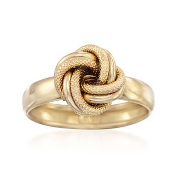 Italian 14kt Yellow Gold Textured and Polished Knot Ring. Size 6, , default