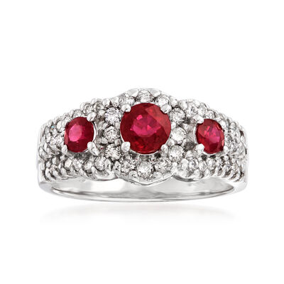 1.20 ct. t.w. Ruby and .60 ct. t.w. Diamond Ring in 14kt White Gold