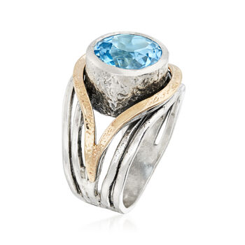 15.00 Carat Blue Topaz Ring in 14kt Yellow Gold and Sterling Silver, , default