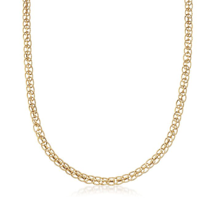 18kt Yellow Gold Textured Circle and Polished Oval-Link Necklace, , default