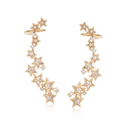 .54 ct. t.w. Diamond Star Ear Crawlers in 14kt Yellow Gold, , default