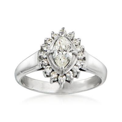 C. 1980 Vintage .68 ct. t.w. Diamond Ring in Platinum