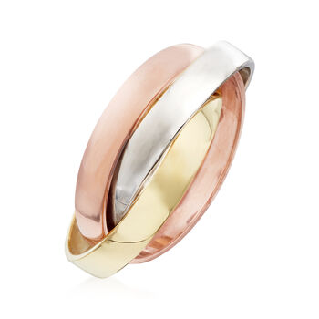 14kt Tri-Colored Gold Rolling Ring, , default