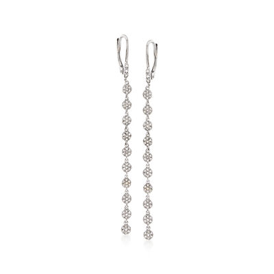 .40 ct. t.w. Pave Diamond Drop Earrings in 14kt White Gold, , default