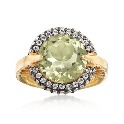 5.75 Carat Green Prasiolite and .80 ct. t.w. White Topaz Ring in 18kt Gold Over Sterling, , default