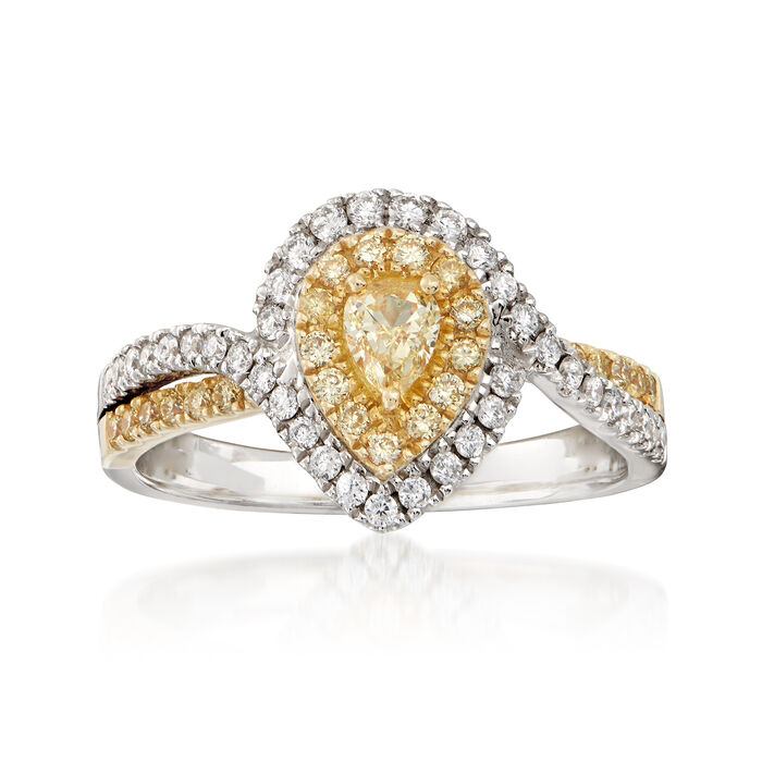.66 ct. t.w. Yellow and White Diamond Pear-Shaped Ring in 18kt Two-Tone Gold