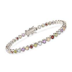 """4.80 ct. t.w. Bezel-Set Multi-Stone Bracelet in Sterling Silver. 7.25"""", , default"""
