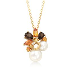 "7-9.5mm Cultured Pearl and 2.10 ct. t.w. Multi-Stone Cluster Pendant Necklace in 18kt Gold Over Sterling. 18"", , default"