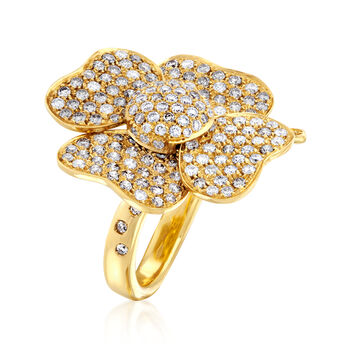 C. 1990 Vintage 2.30 ct. t.w. Diamond Flower Ring in 18kt Yellow Gold. Size 6.75