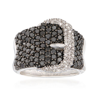 2.00 ct. t.w. Black and White Diamond Buckle Ring in Sterling Silver, , default