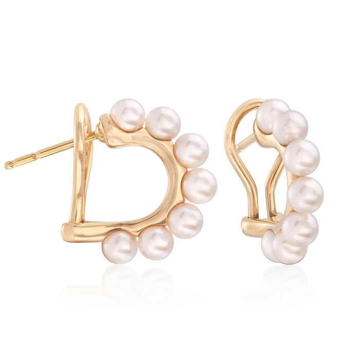 "Mikimoto 3.5mm A+ Akoya Pearl Hoop Earrings in 18kt Yellow Gold. 1/2"", , default"