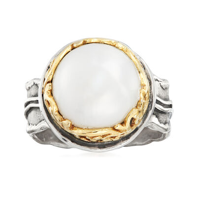 12mm Cultured Pearl Two-Tone Ring in Sterling Silver and 14kt Yellow Gold