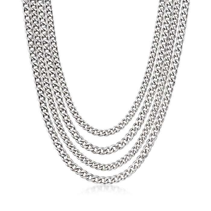 Italian Multi-Strand Curb-Link Necklace in Sterling Silver