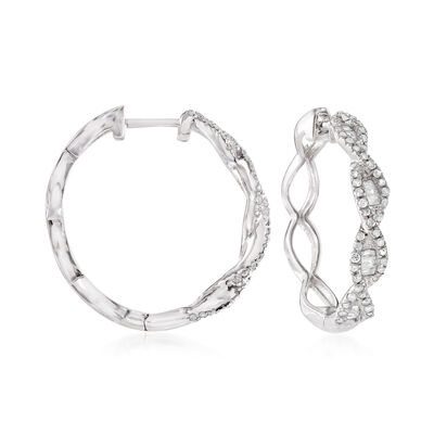 .50 ct. t.w. Baguette and Round Diamond Twisted Hoop Earrings in Sterling Silver, , default