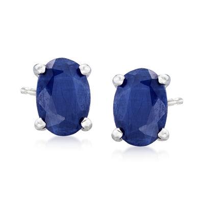 1.30 ct. t.w. Oval Sapphire Stud Earrings in 14kt White Gold
