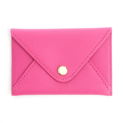 Royce Bright Pink Leather Three-Initial Envelope-Style Business Card Holder