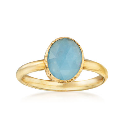 Italian 3.60 Carat Bezel-Set Aquamarine Ring in 14kt Yellow Gold
