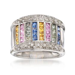 C. 1990 Vintage 1.60 ct. t.w. Multicolored Sapphire and .25 ct. t.w. Diamond Ring in 14kt White Gold. Size 6, , default