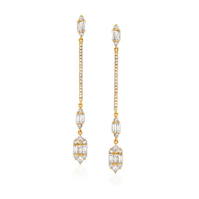 1.25 ct. t.w. Diamond Linear Drop Earrings in 18kt Yellow Gold