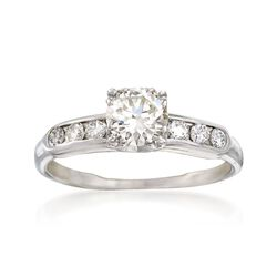 C. 1950 Vintage .85 ct. t.w. Diamond Engagement Ring in 14kt White Gold, , default