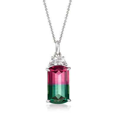 9.00 Carat Watermelon Quartz and .50 Carat Rock Crystal Pendant Necklace in Sterling Silver