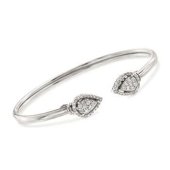 """.62 ct. t.w. Diamond Pear-Shaped Cuff Bracelet in Sterling Silver. 8"""", , default"""
