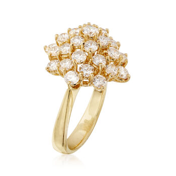 C. 1990 Vintage 2.55 ct. t.w. Diamond Cluster Ring in 18kt Yellow Gold. Size 6.5, , default