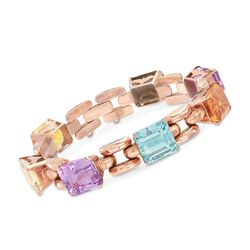"C. 1940 Vintage 47.20 ct. t.w. Multi-Stone Station Link Bracelet in 18kt Rose Gold. 6.75"", , default"