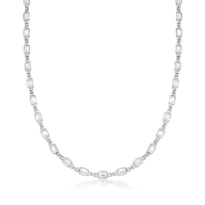22.50 ct. t.w. Bezel-Set Emerald-Cut CZ Necklace in Sterling Silver, , default