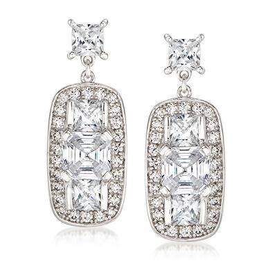 5.60 ct. t.w. CZ Vintage-Style Drop Earrings in Sterling Silver