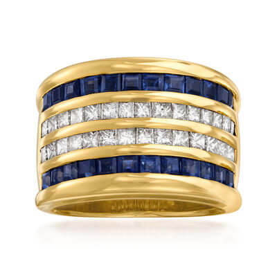 C. 1980 Vintage 2.04 ct. t.w. Sapphire and 1.00 ct. t.w. Diamond Ring in 18kt Yellow Gold