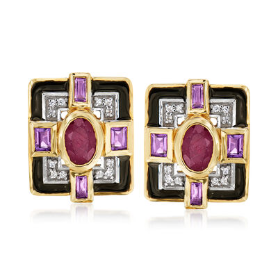 1.90 ct. t.w. Multi-Gem Earrings with Black Enamel in 14kt Yellow Gold