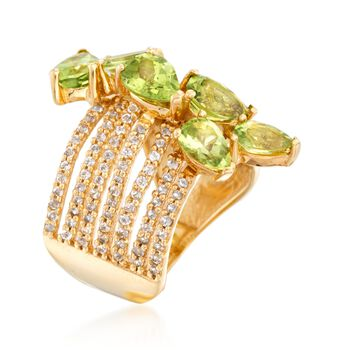 3.60 ct. t.w. Peridot and .90 ct. t.w. White Topaz Multi-Row Ring in 18kt Gold Over Sterling. Size 9, , default
