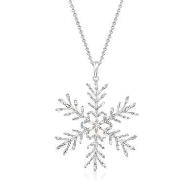 .60 ct. t.w. Diamond Snowflake Pendant Necklace in Sterling Silver